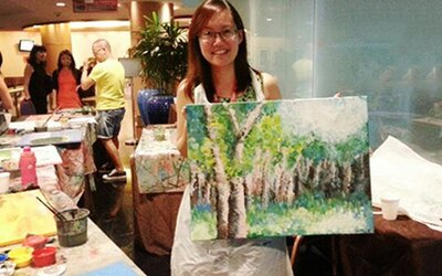 Novena: 3-Hour Canvas Art Jamming Session with Drink for 2 People