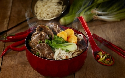 Taiwanese Beef Noodle Soup + Drink for 1 Person