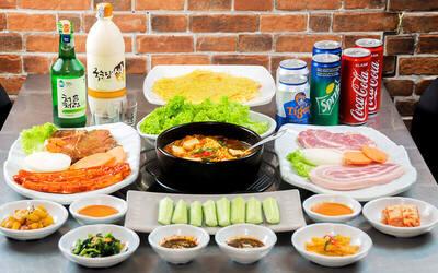 Korean BBQ Pork Set with Potato Pancake and Kimchi Soup for 2 People