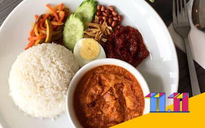 [11.11 Sale] Nasi Lemak with Pork Curry and Complimentary Drink for 1 Person