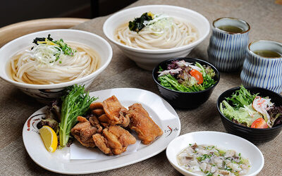 Japanese Tori Karaage Udon Set for 2 People